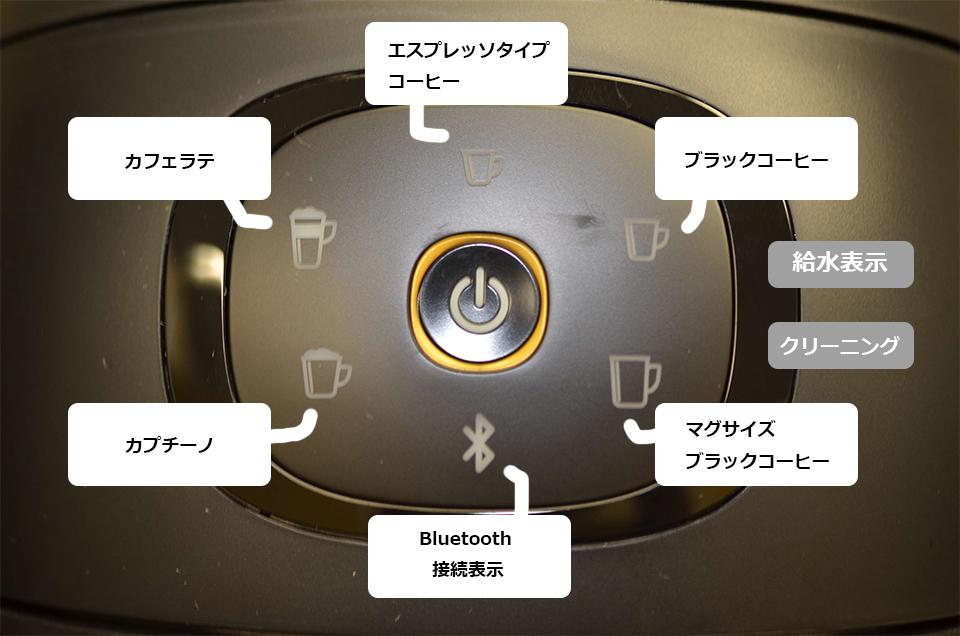 ネスカフェバリスタi(アイ)タッチパネル部分のアップ(各説明付き)