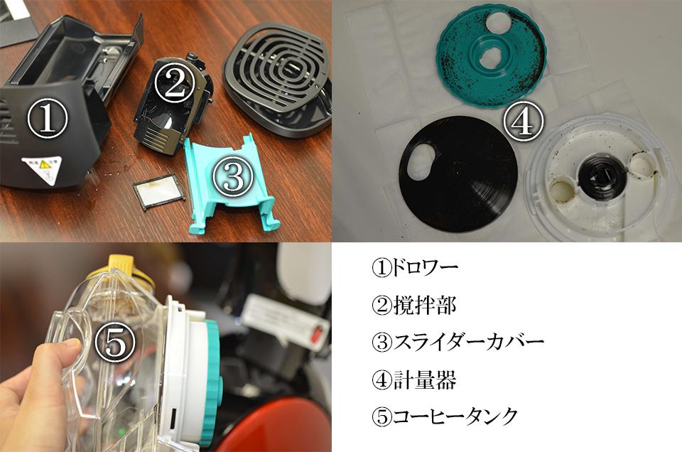 ドロワー、撹拌部、スライダーカバー、計量器、コーヒータンク