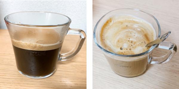 バリスタマグにコーヒーとラテ