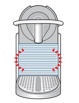 給水サインでランプが点灯しているところ