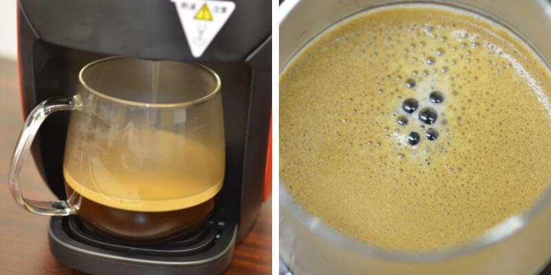 ネスカフェバリスタで淹れたコーヒー