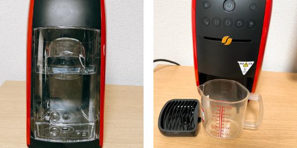 ネスカフェバリスタの使い方:給水タンクに水を入れてカップをセットしたところ